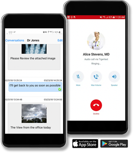 Cellular phones depicting startel secure messaging app interface